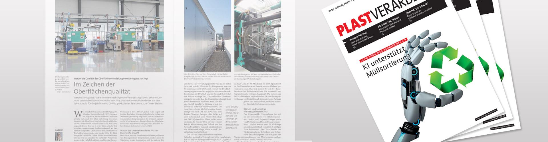 """Artikel """"Im Zeichen der Oberflächenqualität"""" über SKT Schreiber Kunststofftechnik im Magazin Plastverarbeiter"""